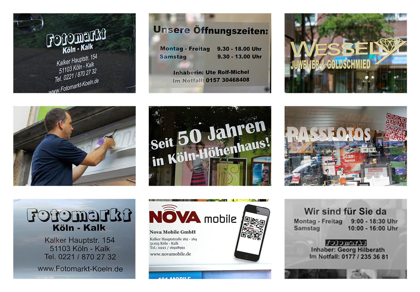 Werbung, Folienschrift, Beschriftung, QR-Code, Fotomarkt Köln-Kalk